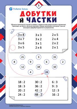 Добутки й частки №1: тренуємо навички множення й ділення