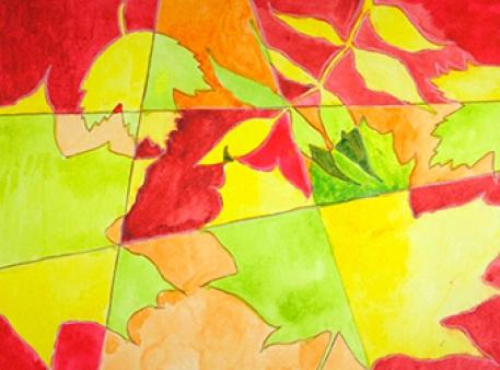 Осіння композиція з листям — акварельна графіка