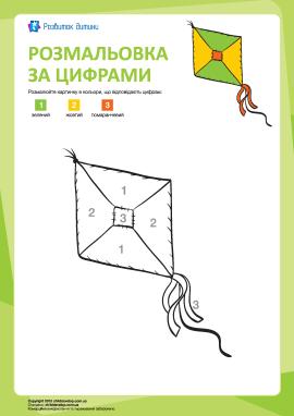 Розмальовка за цифрами: повітряний змій