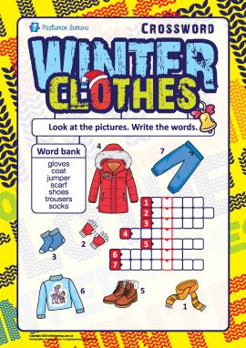 Кросворд англійською «Зимовий одяг»