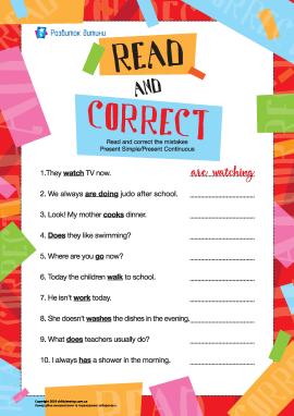 Виправляємо помилки в реченнях у Present Simple і Present Continuous