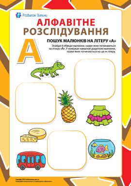 Шукаємо назви малюнків на літеру «А» (українська абетка)
