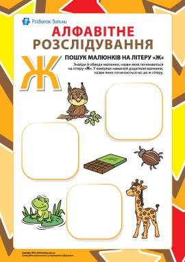 Шукаємо назви малюнків на літеру «Ж» (українська абетка)