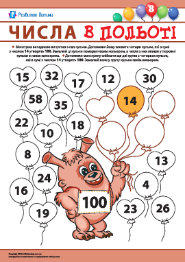 Невідомі доданки №8: сума 100