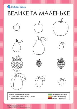 Розмальовка — великі, середні і маленькі фрукти