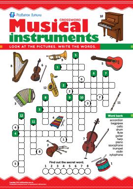 Кросворд англійською «Музичні інструменти»