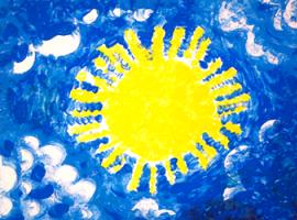 Як пальчиковими фарбами створити сонячну картину