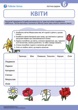 Розвиваємо логіку, розв'язуючи задачу про квіти