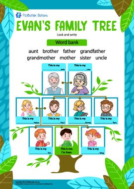 Родинне дерево хлопчика Евана (англійська мова)