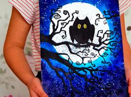 Нічна композиція: малюємо сову на фоні місяця