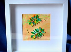 Осіння композиція з листочками в техніці квілінг