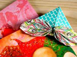 Закладка-кутик з бантиком в техніці орігамі