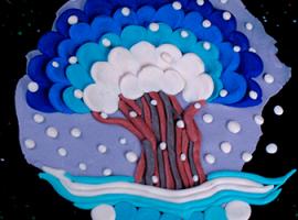 Зимове дерево: об'ємне пластилінове панно
