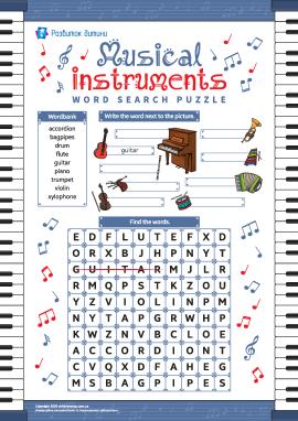 Головоломка «Музичні інструменти» (англійська мова)