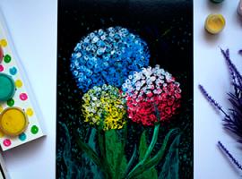 Квітковий живопис пальчиковими фарбами