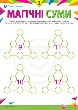 Обчислюємо суми в трикутниках: доданки від 1 до 6