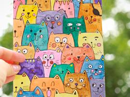 Акварельні коти: цікава графіка для дітей