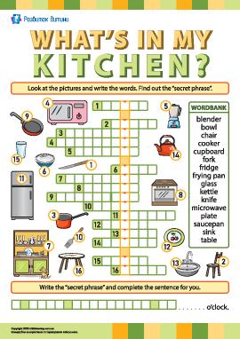 Кросворд «Кухня та її облаштування» (англійська мова)