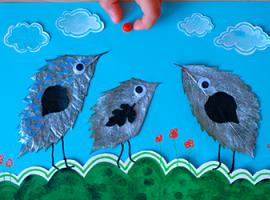 Пташенята: листя, ягоди та акварельний папір