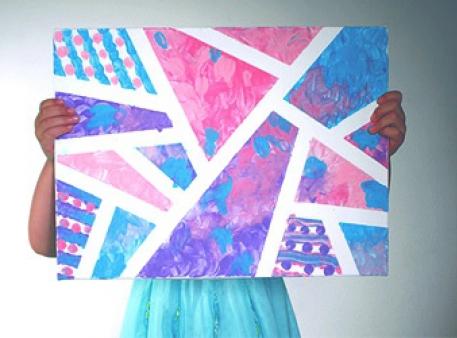 Абстрактний живопис дитячими пальчиковими фарбами